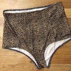 Kortni Jeans high rise swim bottom medium cheetah